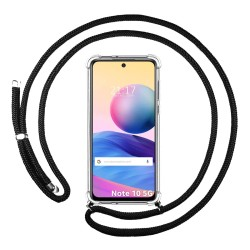 Funda Colgante Transparente para Xiaomi Redmi Note 10 5G / POCO M3 PRO 5G con Cordon Negro