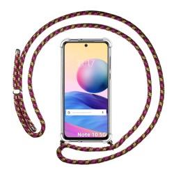Funda Colgante Transparente para Xiaomi Redmi Note 10 5G / POCO M3 PRO 5G con Cordon Rosa / Dorado