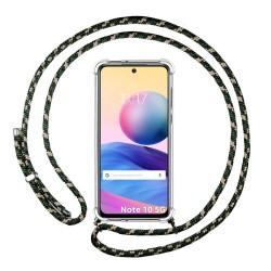 Funda Colgante Transparente para Xiaomi Redmi Note 10 5G / POCO M3 PRO 5G con Cordon Verde / Dorado