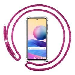 Funda Colgante Transparente para Xiaomi Redmi Note 10 5G / POCO M3 PRO 5G con Cordon Rosa Fucsia