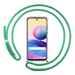 Funda Colgante Transparente para Xiaomi Redmi Note 10 5G / POCO M3 PRO 5G con Cordon Verde Agua