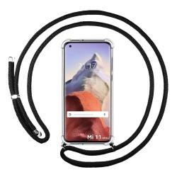 Funda Colgante Transparente para Xiaomi Mi 11 Ultra 5G con Cordon Negro