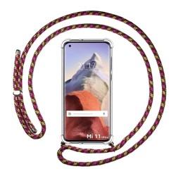 Funda Colgante Transparente para Xiaomi Mi 11 Ultra 5G con Cordon Rosa / Dorado