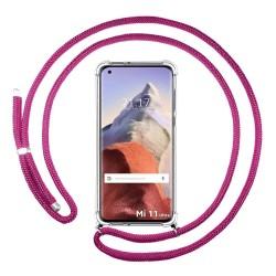 Funda Colgante Transparente para Xiaomi Mi 11 Ultra 5G con Cordon Rosa Fucsia