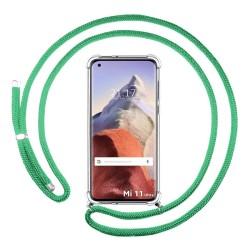 Funda Colgante Transparente para Xiaomi Mi 11 Ultra 5G con Cordon Verde Agua