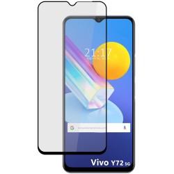 Protector Cristal Templado Completo 5D Full Glue Negro para Vivo Y72 5G Vidrio
