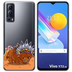 Funda Gel Transparente para Vivo Y72 5G diseño Bufalo Dibujos