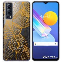 Funda Gel Transparente para Vivo Y72 5G diseño Hojas Dibujos