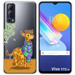 Funda Gel Transparente para Vivo Y72 5G diseño Jirafa Dibujos