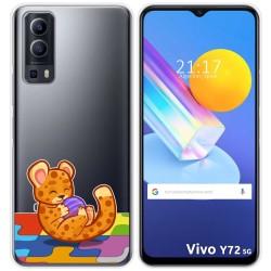 Funda Gel Transparente para Vivo Y72 5G diseño Leopardo Dibujos