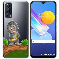 Funda Gel Transparente para Vivo Y72 5G diseño Mono Dibujos