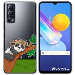 Funda Gel Transparente para Vivo Y72 5G diseño Panda Dibujos