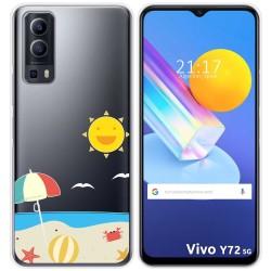 Funda Gel Transparente para Vivo Y72 5G diseño Playa Dibujos