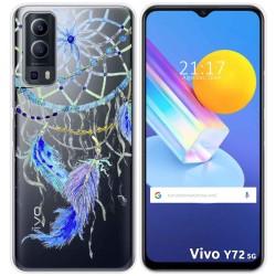 Funda Gel Transparente para Vivo Y72 5G diseño Plumas Dibujos