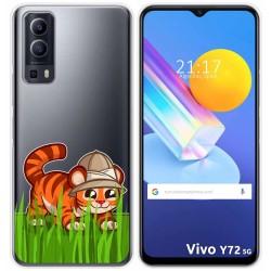 Funda Gel Transparente para Vivo Y72 5G diseño Tigre Dibujos