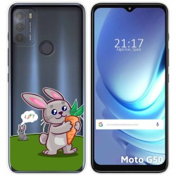 Funda Gel Transparente para Motorola Moto G50 5G diseño Conejo Dibujos