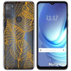 Funda Gel Transparente para Motorola Moto G50 5G diseño Hojas Dibujos