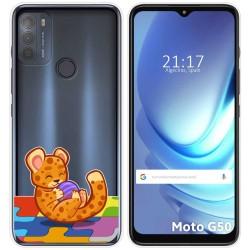 Funda Gel Transparente para Motorola Moto G50 5G diseño Leopardo Dibujos
