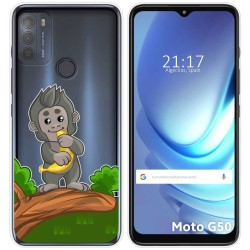 Funda Gel Transparente para Motorola Moto G50 5G diseño Mono Dibujos