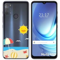 Funda Gel Transparente para Motorola Moto G50 5G diseño Playa Dibujos