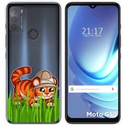 Funda Gel Transparente para Motorola Moto G50 5G diseño Tigre Dibujos