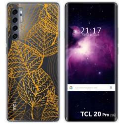 Funda Gel Transparente para TCL 20 Pro 5G diseño Hojas Dibujos