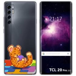 Funda Gel Transparente para TCL 20 Pro 5G diseño Leopardo Dibujos