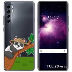 Funda Gel Transparente para TCL 20 Pro 5G diseño Panda Dibujos