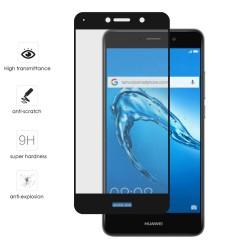 Protector Cristal Templado Frontal Completo Negro para Huawei Y7 Vidrio
