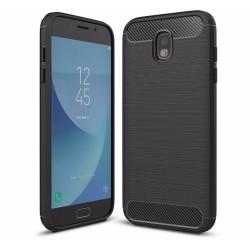 Funda Gel Tpu Tipo Carbon Negra para Samsung Galaxy J3 (2017)
