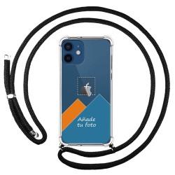 Personaliza tu Funda Colgante Transparente para Iphone 12 / 12 Pro (6.1) con Cordon Negro Dibujo Personalizada