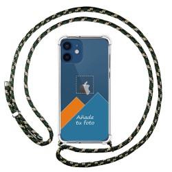 Personaliza tu Funda Colgante Transparente para Iphone 12 / 12 Pro (6.1) con Cordon Verde / Dorado Dibujo Personalizada