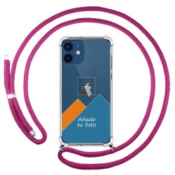 Personaliza tu Funda Colgante Transparente para Iphone 12 / 12 Pro (6.1) con Cordon Rosa Fucsia Dibujo Personalizada