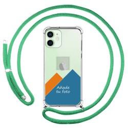Personaliza tu Funda Colgante Transparente para Iphone 12 / 12 Pro (6.1) con Cordon Verde Agua Dibujo Personalizada