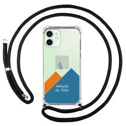 Personaliza tu Funda Colgante Transparente para Iphone 12 Mini (5.4) con Cordon Negro Dibujo Personalizada
