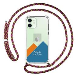 Personaliza tu Funda Colgante Transparente para Iphone 12 Mini (5.4) con Cordon Rosa / Dorado Dibujo Personalizada