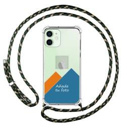 Personaliza tu Funda Colgante Transparente para Iphone 12 Mini (5.4) con Cordon Verde / Dorado Dibujo Personalizada