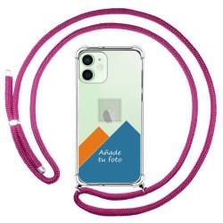 Personaliza tu Funda Colgante Transparente para Iphone 12 Mini (5.4) con Cordon Rosa Fucsia Dibujo Personalizada