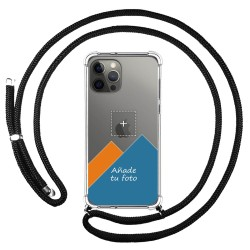 Personaliza tu Funda Colgante Transparente para Iphone 12 Pro Max (6.7) con Cordon Negro Dibujo Personalizada