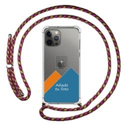 Personaliza tu Funda Colgante Transparente para Iphone 12 Pro Max (6.7) con Cordon Rosa / Dorado Dibujo Personalizada