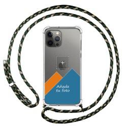 Personaliza tu Funda Colgante Transparente para Iphone 12 Pro Max (6.7) con Cordon Verde / Dorado Dibujo Personalizada