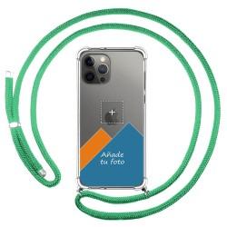 Personaliza tu Funda Colgante Transparente para Iphone 12 Pro Max (6.7) con Cordon Verde Agua Dibujo Personalizada