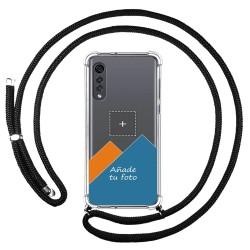 Personaliza tu Funda Colgante Transparente para Lg Velvet 5G con Cordon Negro Dibujo Personalizada