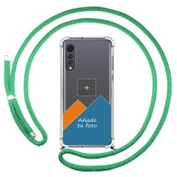 Personaliza tu Funda Colgante Transparente para Lg Velvet 5G con Cordon Verde Agua Dibujo Personalizada