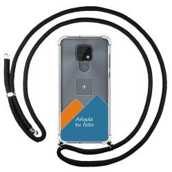 Personaliza tu Funda Colgante Transparente para Motorola Moto E7 con Cordon Negro Dibujo Personalizada