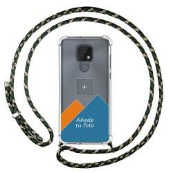 Personaliza tu Funda Colgante Transparente para Motorola Moto E7 con Cordon Verde / Dorado Dibujo Personalizada