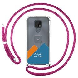 Personaliza tu Funda Colgante Transparente para Motorola Moto E7 con Cordon Rosa Fucsia Dibujo Personalizada