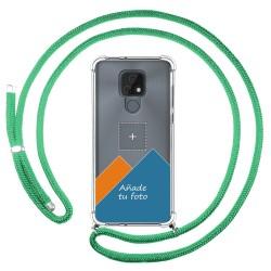 Personaliza tu Funda Colgante Transparente para Motorola Moto E7 con Cordon Verde Agua Dibujo Personalizada