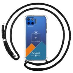 Personaliza tu Funda Colgante Transparente para Motorola Moto G 5G Plus con Cordon Negro Dibujo Personalizada