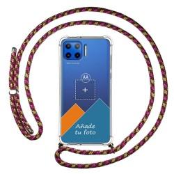 Personaliza tu Funda Colgante Transparente para Motorola Moto G 5G Plus con Cordon Rosa / Dorado Dibujo Personalizada